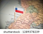 chile marked with a flag on the ... | Shutterstock . vector #1289378239