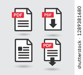 pdf file download icon.... | Shutterstock .eps vector #1289381680