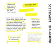 yellow marker text selection.... | Shutterstock .eps vector #1289381920