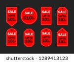 set of red sale icon banners in ...   Shutterstock .eps vector #1289413123