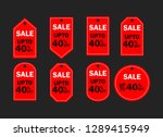 set of red sale icon banners in ...   Shutterstock .eps vector #1289415949