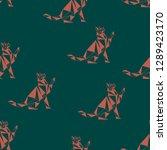 seamless koshika pattern  cats... | Shutterstock .eps vector #1289423170
