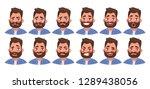 set of different emotions male... | Shutterstock .eps vector #1289438056
