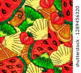 mixed fruit background.... | Shutterstock .eps vector #1289456320