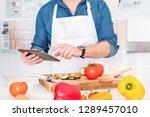 one man portrait making a vegan ... | Shutterstock . vector #1289457010