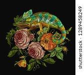 embroidery color chameleons ... | Shutterstock .eps vector #1289458249