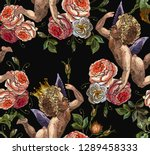 embroidery angels and roses...   Shutterstock .eps vector #1289458333