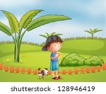 illustration of a boy with a... | Shutterstock . vector #128946419