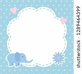 Stock vector cute blue card design with elephant cartoon 1289464399