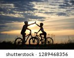 adorable couple in helmets... | Shutterstock . vector #1289468356
