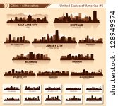 City skyline set. 10  city silhouettes of USA #5 - stock vector