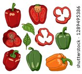set with bell peppers on white...   Shutterstock .eps vector #1289495386
