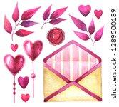 set hearts  leaves  love letter ...   Shutterstock . vector #1289500189