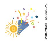 confetti popper with bitcoin... | Shutterstock .eps vector #1289500693