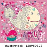 vector illustration with whales | Shutterstock .eps vector #128950826