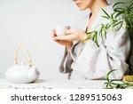 a beautiful woman holding... | Shutterstock . vector #1289515063