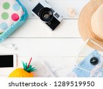 top view travel concept with... | Shutterstock . vector #1289519950