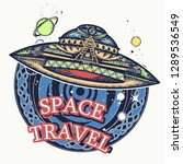 ufo space ship and universe t... | Shutterstock .eps vector #1289536549