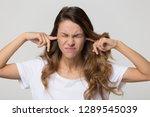stubborn annoyed woman sticking ... | Shutterstock . vector #1289545039