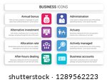 set of 8 white business icons... | Shutterstock .eps vector #1289562223