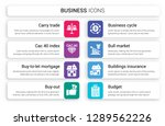 set of 8 white business icons... | Shutterstock .eps vector #1289562226