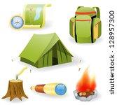 Vector Illustration Of Camping...