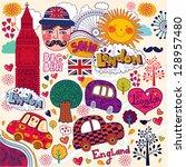vector set of london symbols | Shutterstock .eps vector #128957480