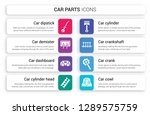set of 8 white car parts icons... | Shutterstock .eps vector #1289575759