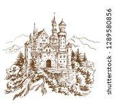 neuschwanstein castle. engraving | Shutterstock .eps vector #1289580856
