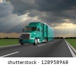 truck on blurry asphalt road... | Shutterstock . vector #128958968