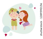 girl kisses a boy and gives a... | Shutterstock .eps vector #1289590156