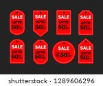 set of red sale icon banners in ... | Shutterstock .eps vector #1289606296