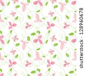 seamless pattern of leaves and... | Shutterstock .eps vector #128960678