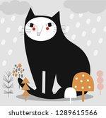 cat illustration  sitting in... | Shutterstock .eps vector #1289615566