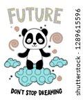 cute panda on a cloud cartoon... | Shutterstock .eps vector #1289615596