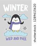 cute penguin on a cloud cartoon ... | Shutterstock .eps vector #1289615620
