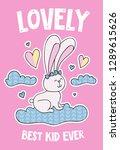 cute rabbit on a cloud cartoon... | Shutterstock .eps vector #1289615626