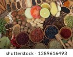 various spices background | Shutterstock . vector #1289616493