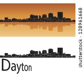 Dayton skyline in orange background in editable vector file - stock vector