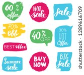 set of sale labels. hand drawn... | Shutterstock .eps vector #1289616709
