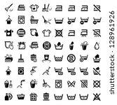 64 laundry and washing icons...