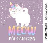 cute cat unicorn meow  vector... | Shutterstock .eps vector #1289629066