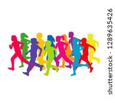 colored silhouettes of running...   Shutterstock .eps vector #1289635426