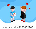 valentines day isometric... | Shutterstock .eps vector #1289659243