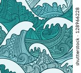 sea seamless pattern | Shutterstock .eps vector #128966228