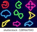 neon arrows on brick wall...   Shutterstock .eps vector #1289667043