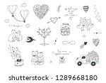 romantic doodle illustrations... | Shutterstock . vector #1289668180
