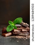 chocolate slices with fresh... | Shutterstock . vector #1289684503