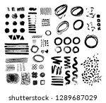 hand drawn brush raw textured... | Shutterstock . vector #1289687029