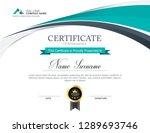 vector certificate template | Shutterstock .eps vector #1289693746